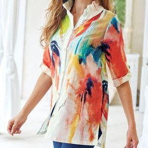 Soft Surroundings Isla Grande Colorful Shirt Sz M